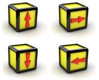Caselle gialle con le frecce Fotografia Stock Libera da Diritti