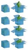 Caselle trasparenti con le icone Immagini Stock Libere da Diritti