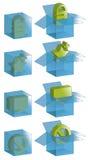 Caselle trasparenti con le icone Immagine Stock Libera da Diritti