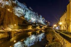 Casemates du Bock und Steinbrücke in Luxemburg stockbilder