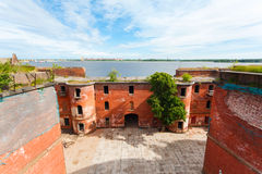 Casemates in Fort Alexander Chumnoy. In the Gulf of Finland Royalty Free Stock Photos