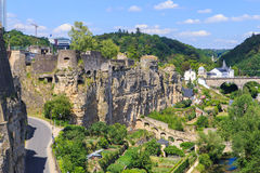 Casemates of Luxembourg. View on the casemates of Luxembourg city, the historic walls and tunnels used to defend the city Stock Images