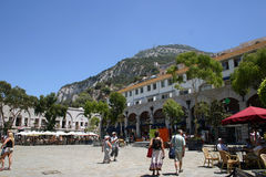 Casemates. Square is one of the two main areas people congregate in Gibraltar, currently for fun and entertainment Stock Photo