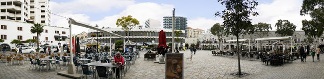 Casemates Square on The Rock of Gibraltar at the entrance to the Mediterranean Sea. Gibraltar is a British overseas territory located near the southernmost tip Stock Photography