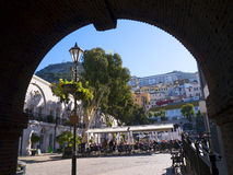 Casemates Square on The Rock of Gibraltar at the entrance to the Mediterranean Sea. A part of Britain in the Mediterranean Sea with a Naval base and airport Royalty Free Stock Photo