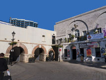 Casemates Square on The Rock of Gibraltar at the entrance to the Mediterranean Sea. A part of Britain in the Mediterranean Sea with a Naval base and airport Royalty Free Stock Photography