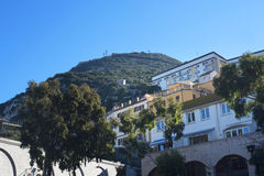 Casemates Square on The Rock of Gibraltar at the entrance to the Mediterranean Sea. A part of Britain in the Mediterranean Sea with a Naval base and airport Stock Photography