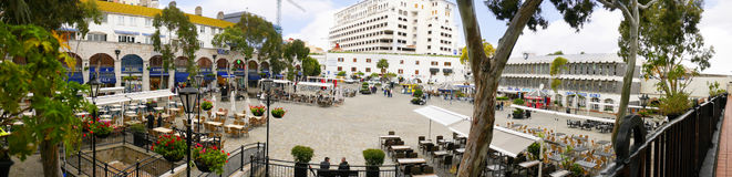 Casemates Square on The Rock of Gibraltar at the entrance to the Mediterranean Sea. A part of Britain in the Mediterranean Sea with a Naval base and airport Stock Image