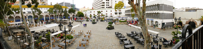 Casemates Square on The Rock of Gibraltar at the entrance to the Mediterranean Sea. A part of Britain in the Mediterranean Sea with a Naval base and airport Royalty Free Stock Images