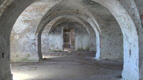 In the casemates of the 1st North Fort. Kronshtadt. In the casemates of the 1st North Fort, Kronshtadt stock video