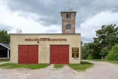Caserma dei pompieri d'annata in Svezia Fotografie Stock Libere da Diritti