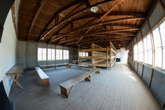 Caserme dell'interno dal campo di concentramento di Dachau Fotografie Stock