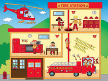 Caserne de pompiers illustration stock