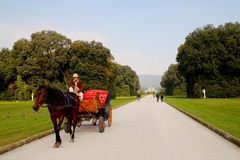 Caserta Gardens tour with horse carriage Royalty Free Stock Photo
