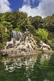 Caserta Palace Royal Garden,Italy Campania. Sculptural group:The Fountain of Atteone and Diana`s with waterfalls water, Stock Photo