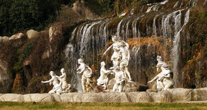 Caserta Royal Palace fountain and waterfall. Royal Palace in Caserta, designed by architect Vanvitelli. Upper fountain Royalty Free Stock Image