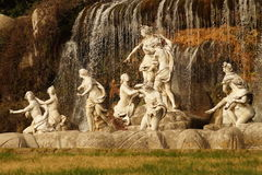 Caserta Royal Palace fountain and waterfall. Royal Palace in Caserta, designed by architect Vanvitelli. Upper fountain Royalty Free Stock Photo