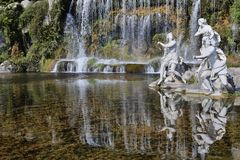 Caserta Royal Palace fountain and waterfall Stock Images