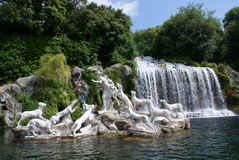 Caserta Royal Palace, Statue in Great Waterfall royalty free stock photo