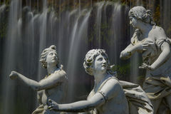 Caserta royal palace, statue in great waterfall Royalty Free Stock Photography