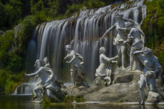 Caserta royal palace, statue in great waterfall Stock Image