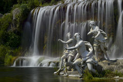 Caserta royal palace, statue in great waterfall Stock Photos