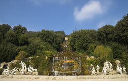 Caserta Royal Palace ,statues and great waterfall Stock Image