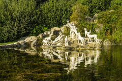 Caserta Royal Palace ,statues and reflections Royalty Free Stock Photos