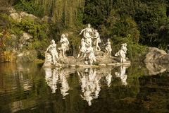 Caserta Royal Palace ,statues and reflections Stock Image