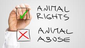 Cases à cocher d'inscription pour les droits des animaux et l'abus Images stock