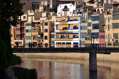 Cases de l'Onyar in Girona, Catalonia, Spain Royalty Free Stock Images