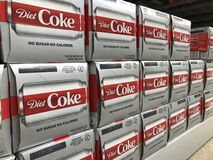 Free Cases Of Diet Coca Cola On Display. Coke Products Are Among The Best Selling Soda Pop Drinks In The US Royalty Free Stock Images - 192633749