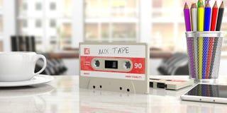 Casete audio del vintage, cinta de la mezcla del texto en la etiqueta, en un escritorio de oficina ilustración 3D ilustración del vector