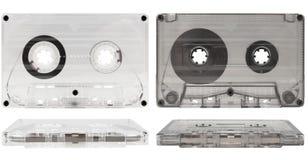 Casetes audios viejos transparentes Foto de archivo