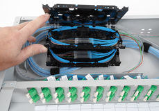 Casetes del empalme de la fibra óptica Fotos de archivo