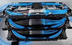 Casetes del empalme de la fibra óptica Foto de archivo libre de regalías