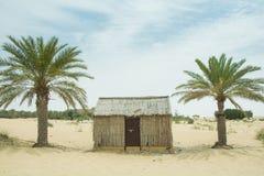 Casetta araba del villaggio di vecchio stile nel deserto fra le palme Fotografia Stock