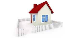 Casetta con il tetto rosso ed il recinto bianco Fotografie Stock Libere da Diritti