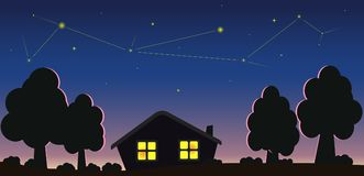 Casetta e cielo stellato Fotografia Stock
