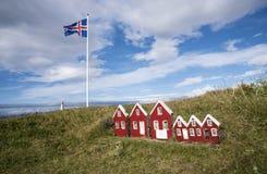 Casette a Strandarkirkja, Selvogur, Islanda 1 Immagine Stock