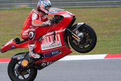 Casey Entkerner, der den Rennengewinn beim MotoGP 200 nimmt Lizenzfreies Stockfoto