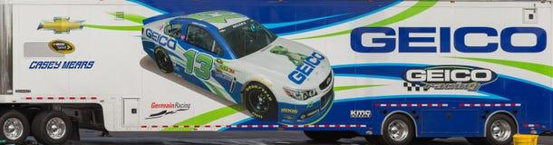 Casey Mears #13 Geico NASCAR Hauler. NASCAR race car hauler for Germain Racing  driver Casey Mears Stock Photos