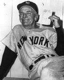 Casey Stengel New York Yankees Manager. Former New York Yankees manager Casey Stengel holds up his lineup card. (Image taken from B&W negatives Stock Photos