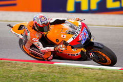 Casey Stoner racing at Catalunya Circuit Royalty Free Stock Images