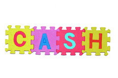 Cash. Letters-puzzle, word cash,  isolated on white background Stock Photo