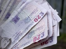 Cash. Close up of 20 pound notes stock photography