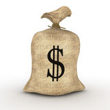 Cash. Sack of dollars isolated on white background Stock Photo