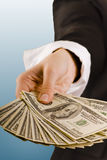 Cash. Female hand holding hundred dollar bills stock images