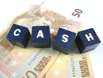 Cash !. Rhe word cash spelled out on some banknotes Stock Photo
