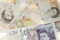Cash. Ten and twenty pound notes Stock Photos